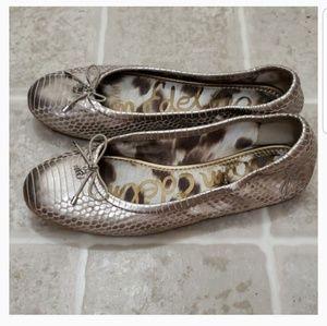 Sam Edelman | Gold Snakeskin Flats | Size 7